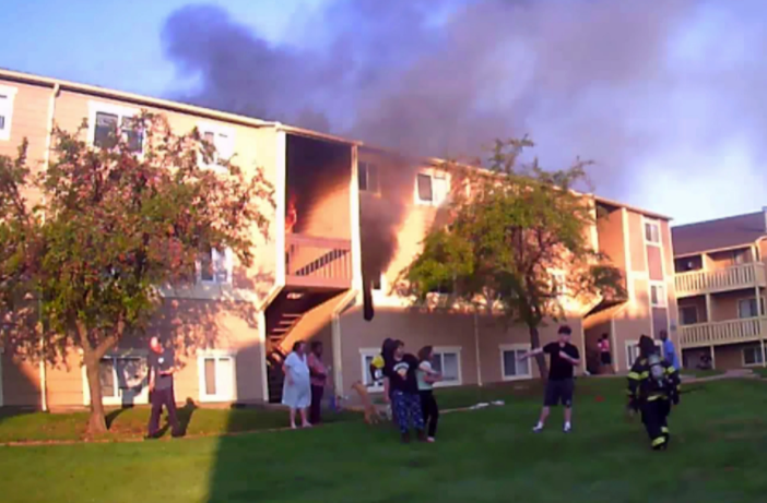 The fire engulfs the building