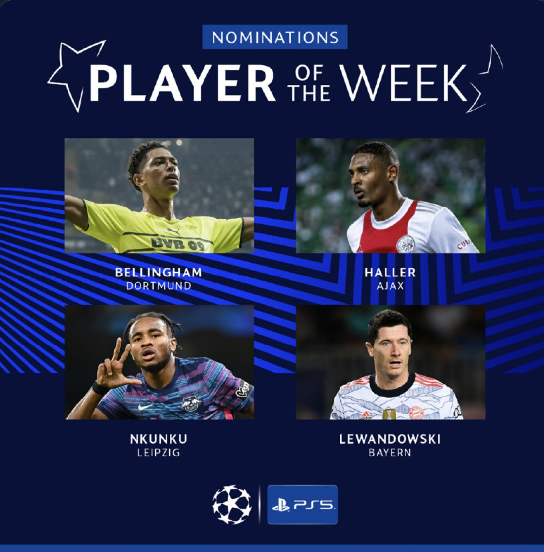 The nominees for the UEFA Champions League Player of the Week award