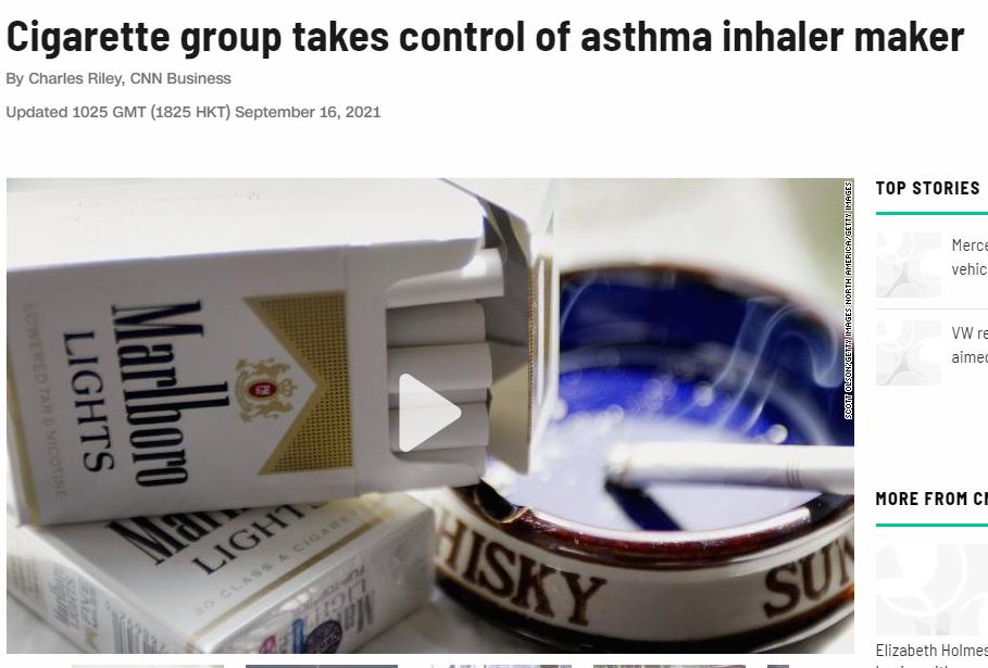 Major tobacco companies dominate the inhaler industry market