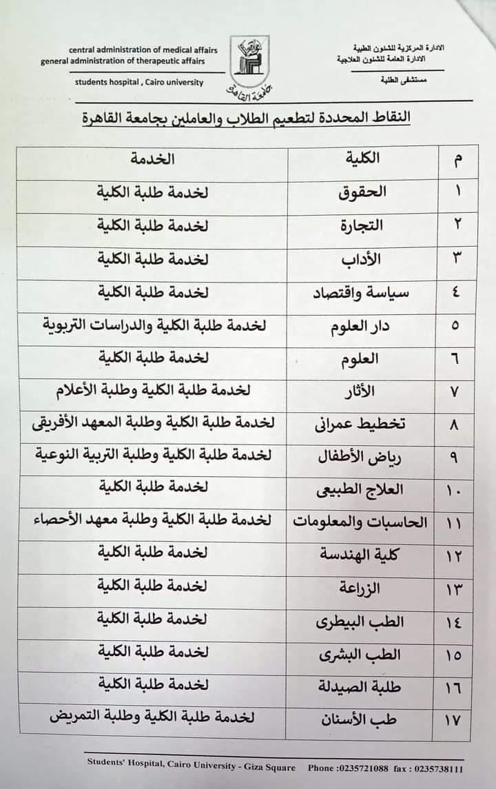 مراكز تطعيم طلاب جامعة القاهرة بلقاح كورونا