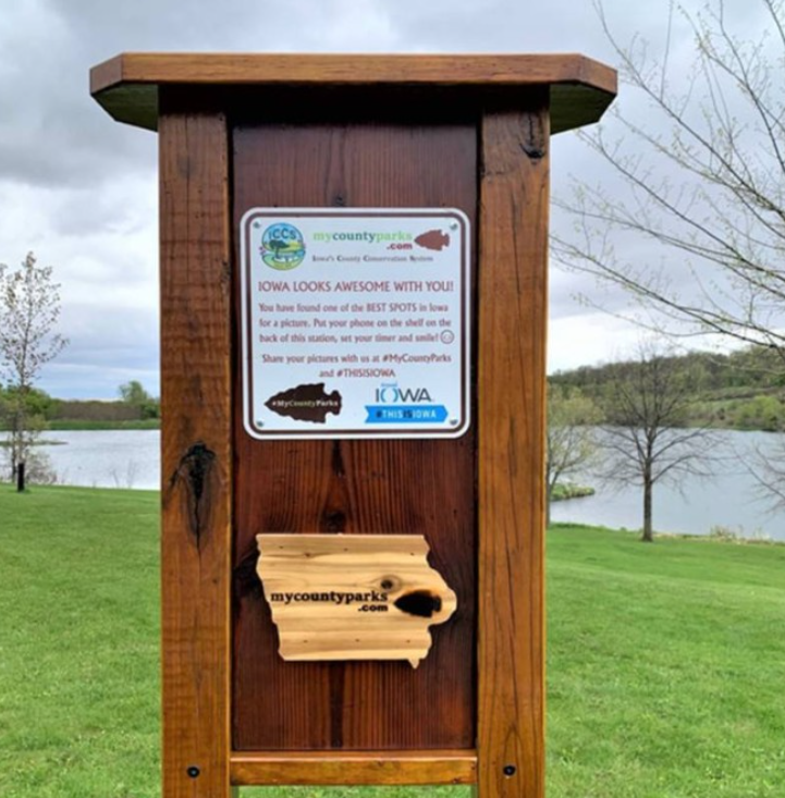 Pictures of selfie stations from different parks