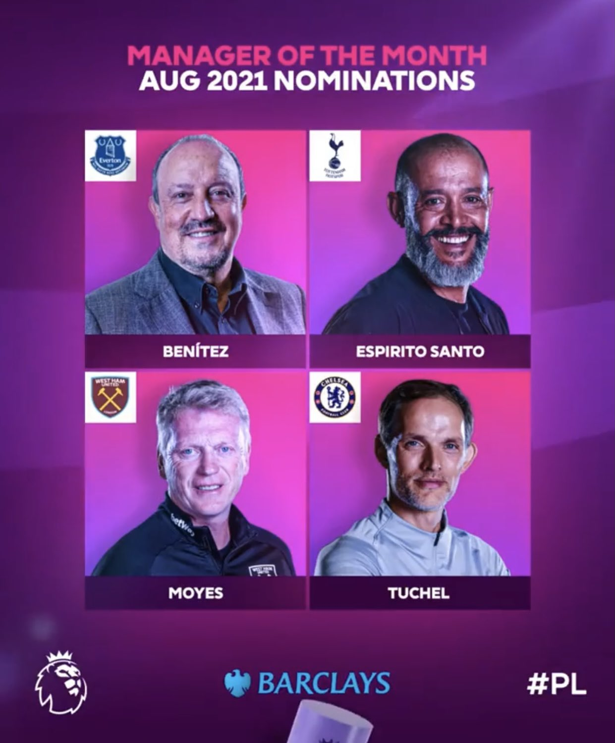 The nominees for the Premier League Coach of the Month award