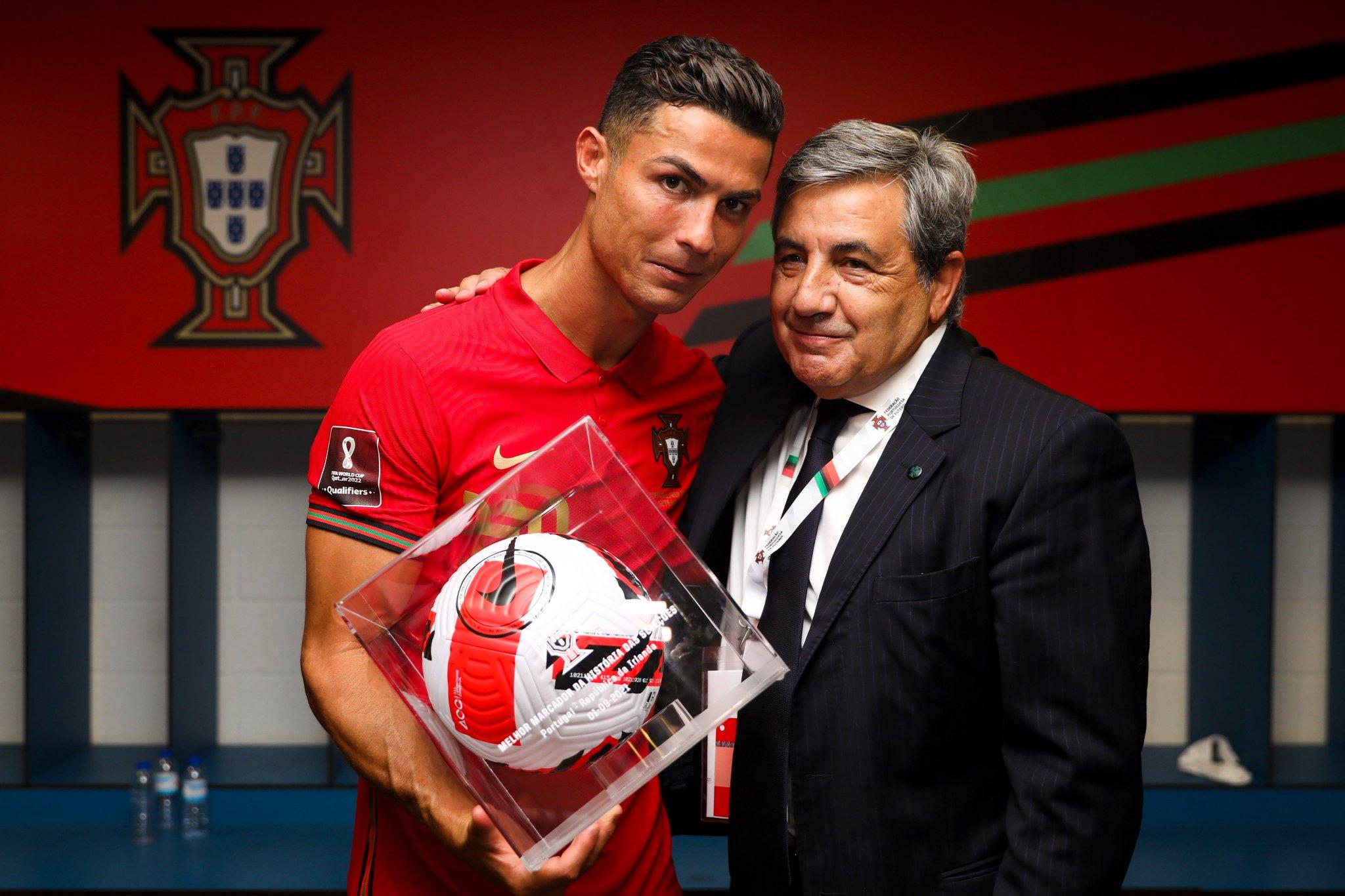 Ronaldo with his historic goal ball