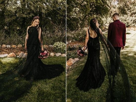 فستان بطرحة طويلة