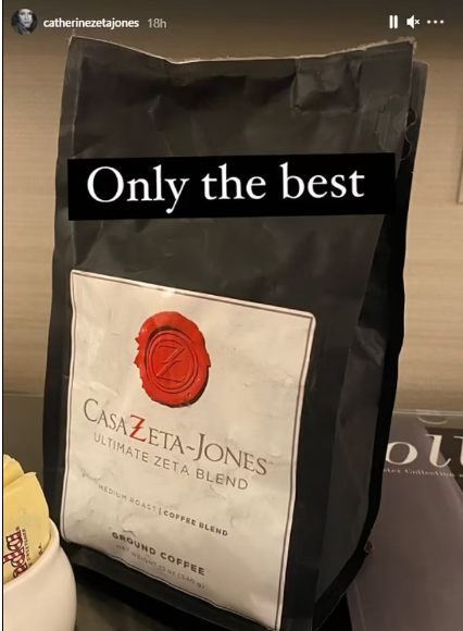 Catherine Zeta-Jones gets ready with coffee