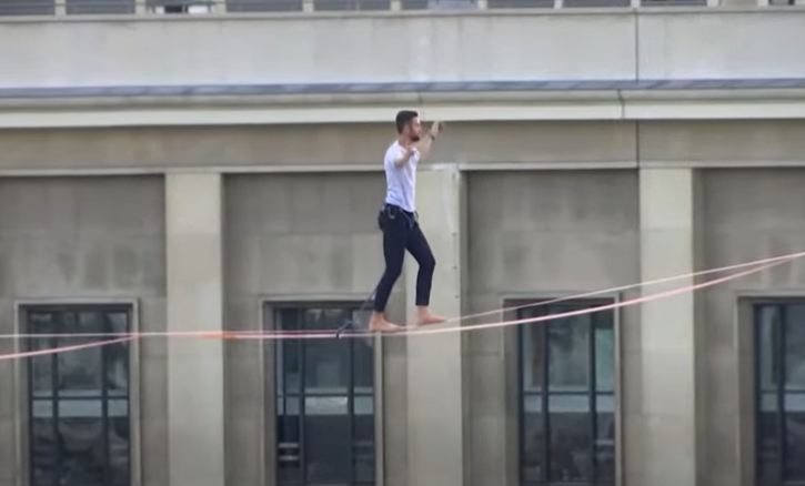 The French adventurer walks the rope