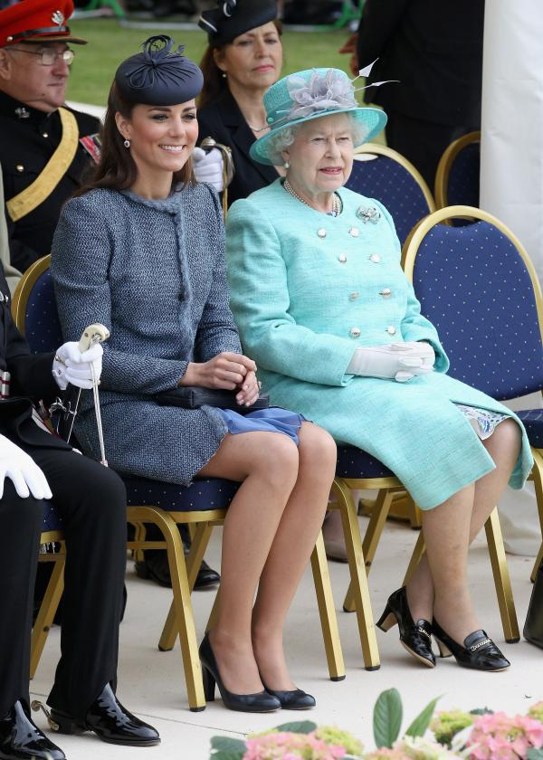 Kate Middleton and Queen Elizabeth in blue
