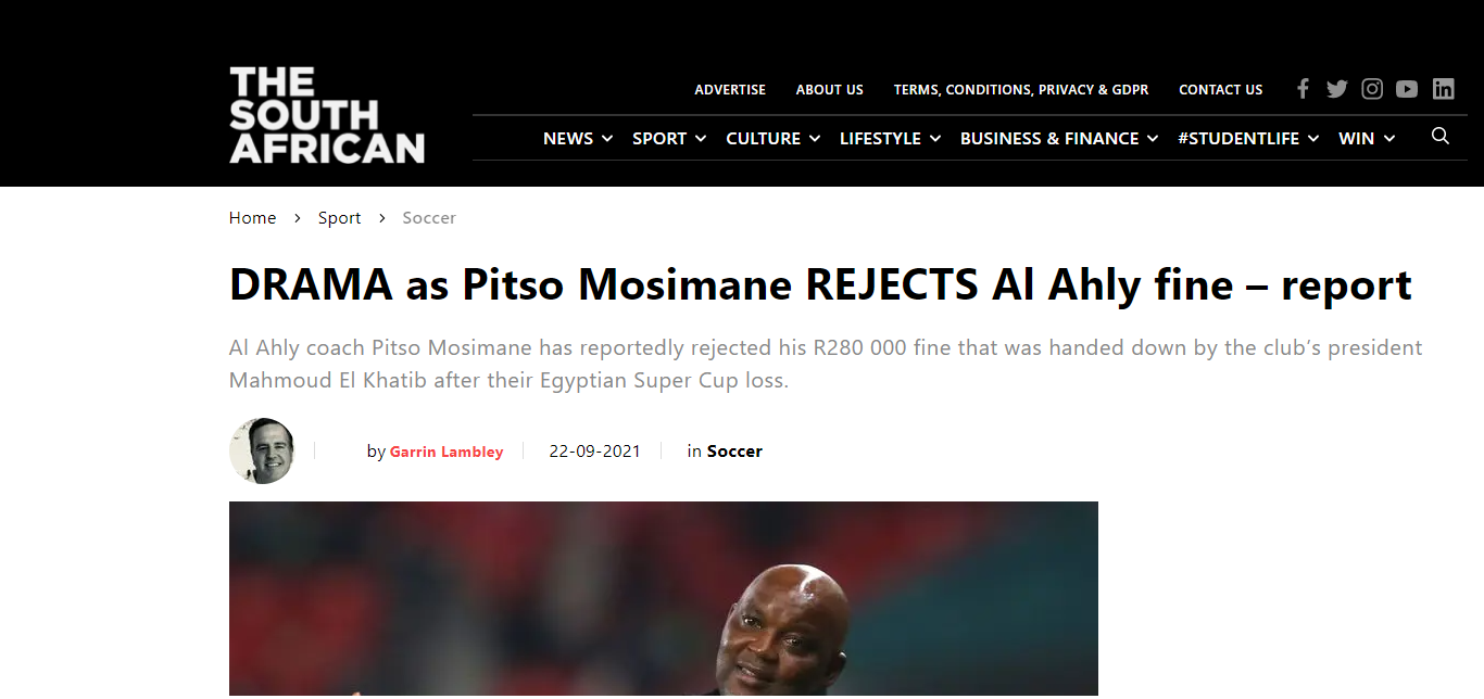 A zinkographic image from the South African newspapers report on Musimani's anger at Al-Ahly's punishment