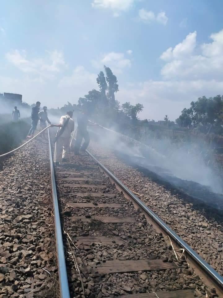 السيطرة على حريق ببوص على شريط السكة الحديد بالمنوفية