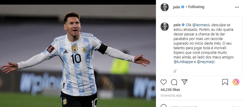 Pele congratulates Messi