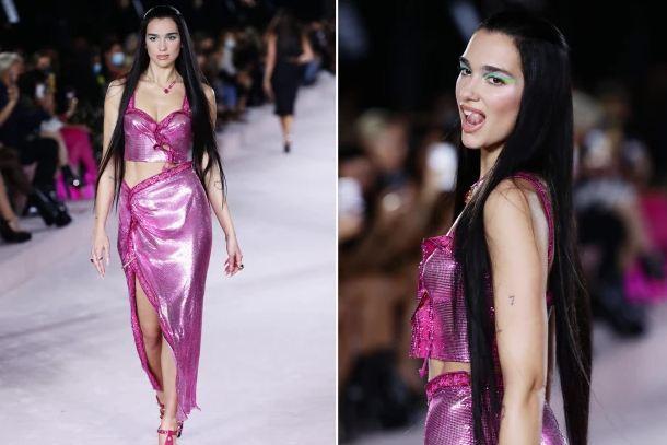 Dua Lipa at the Versace show