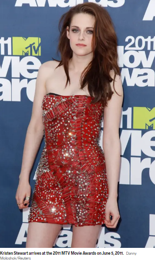 In a short red dress