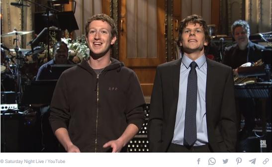 Jesse Eisenberg and Mark Zuckerberg