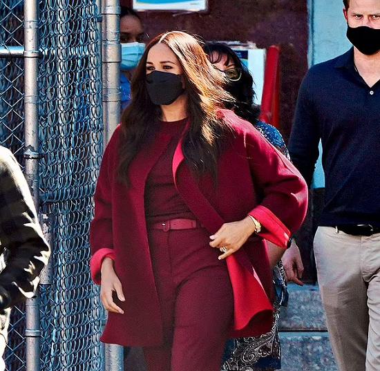 Megan in a dark red coat