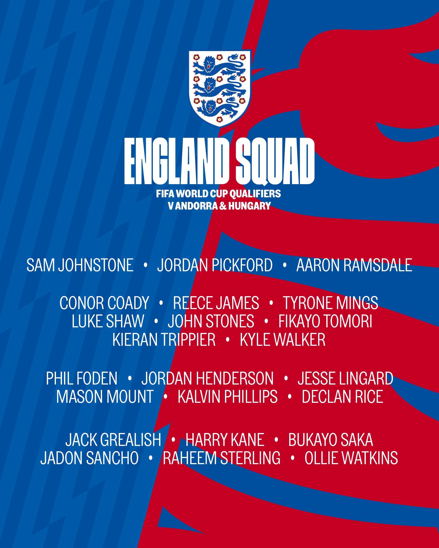 England squad list