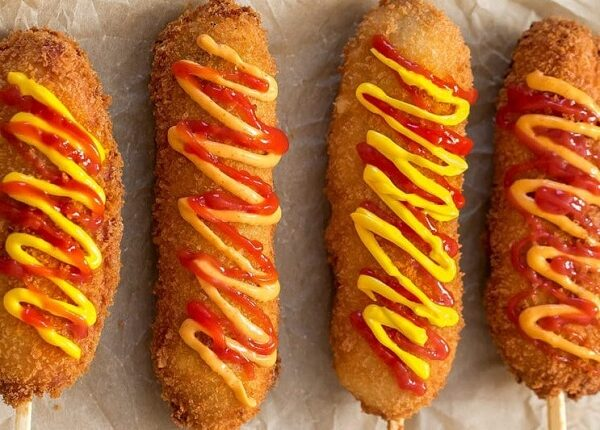 Corn dogs with potatoes