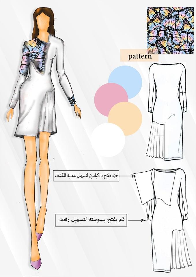 Preparing the design of the dress