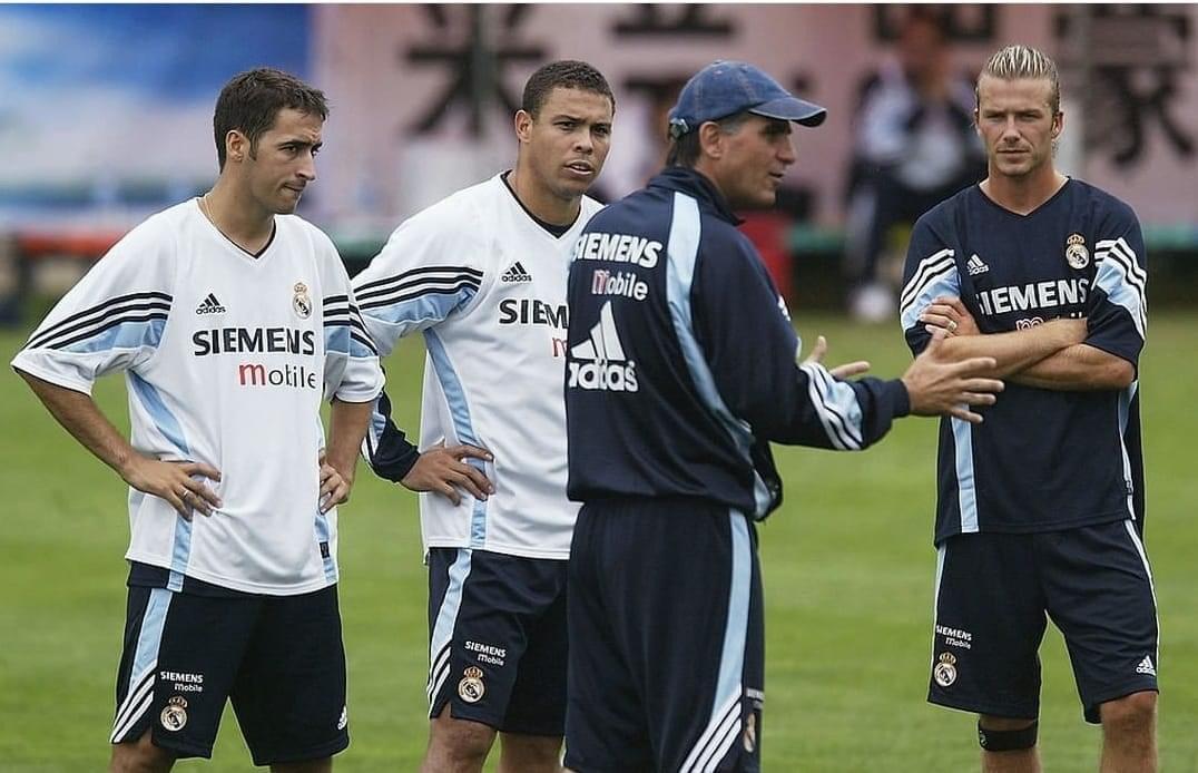 Queiroz with Raul, Ronaldo and Beckham