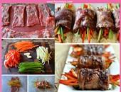 رول اللحم البتلو بالخضروات