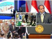 الرئيس عبد الفتاح السيسى أثناء افتتاح مشروع غيط العنب