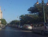 أعمدة الإنارة مضاءة صباحا بكورنيش النيل بالمنيا