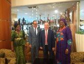 لقاء حلمى النمنم وزير الثقافة ووزيرة ثقافة جنوب السودان والدكتور هيثم الحاج على رئيس هيئة الكتاب