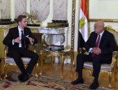 المهندس شريف إسماعيل رئيس الوزراء - أرى إيلان لوفور وزير بيئة الأعمال والتجارة وريادة الاعمال الرومانى