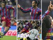 لحظة تسجيل رونالدينيو فى شباك ريال مدريد
