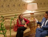 جانب من لقاء السفيرة البلجيكية بالقاهرة مع طارق رضوان رئيس لجنة الشئون الخارجية بالبرلمان