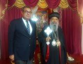 السفير المصرى فى أديس أبابا مع بطريرك الكنيسة الأرثوذكسية الإثيوبية