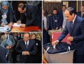 الرئيس السيسى أثناء إدلائه بصوته فى الانتخابات- أرشيفية