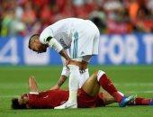 محمد صلاح لحظة الاصابة