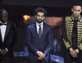 محمد صلاح وساديو ماني وأوباميانج فى حفل الكاف 2017