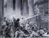 صورة متخيلة لـ حريق مكتبة الإسكندرية