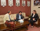 """رئيس مجلس ترويج التجارة بالهند """"اشوك سيتى""""  خلال لقاءه بجمعية رجال الأعمال المصريين"""