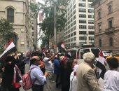 توافد الجاليات المصرية بالولايات المتحدة الأمريكية على مقر إقامة الرئيس السيسى فى نيويورك