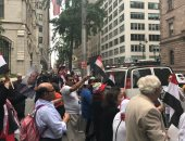 جانب من استقبال الجالية المصرية للرئيس بنيويورك