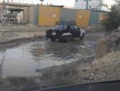 غرق شارع القومية بمياه الصرف الصحى