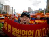 مظاهرات سائقى التاكسى فى كوريا الجنوبية ضد الكاربول
