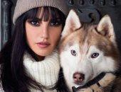درة مع كلبها الهاسكى