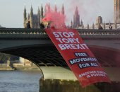 مظاهرات البريطانيين على جسر ويستمنستر