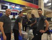 لاعبو المصرى فى المطار