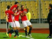 تريزيجيه يحتفل بتسجيل هدف منتخب مصر الاول في شباك تونس