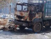 آثار انفجار سيارة محملة بالأنابيب فى العصافرة