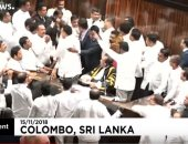 عراك وتدافع وهجوم على رئيس المجلس فى برلمان سريلانكا