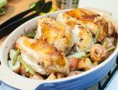 طريقة عمل دجاج مشوى مع فاصوليا خضراء بالليمون والثوم