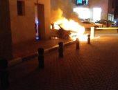 السيارة التى اشتعلت فيها النيران