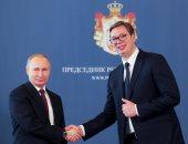 الرئيس الصربى ألكسندر فوتشيتش ونظيره الروسى فلاديمير بوتين