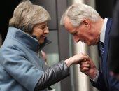 تيريزا ماى ومايكل بارنر كبير مفاوضى بريكست الأوروبيين