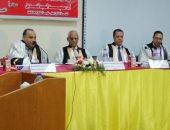 رئيس الجامعة ولجنة الحكام أثناء مناقشة رسالة الدكتورة